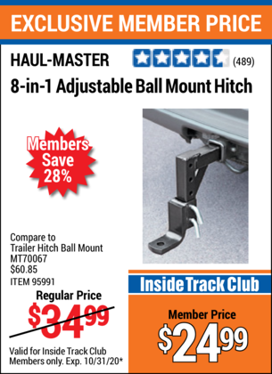 Harbor Freight 8-IN-1 Adjustable Ball Mount Hitch coupon