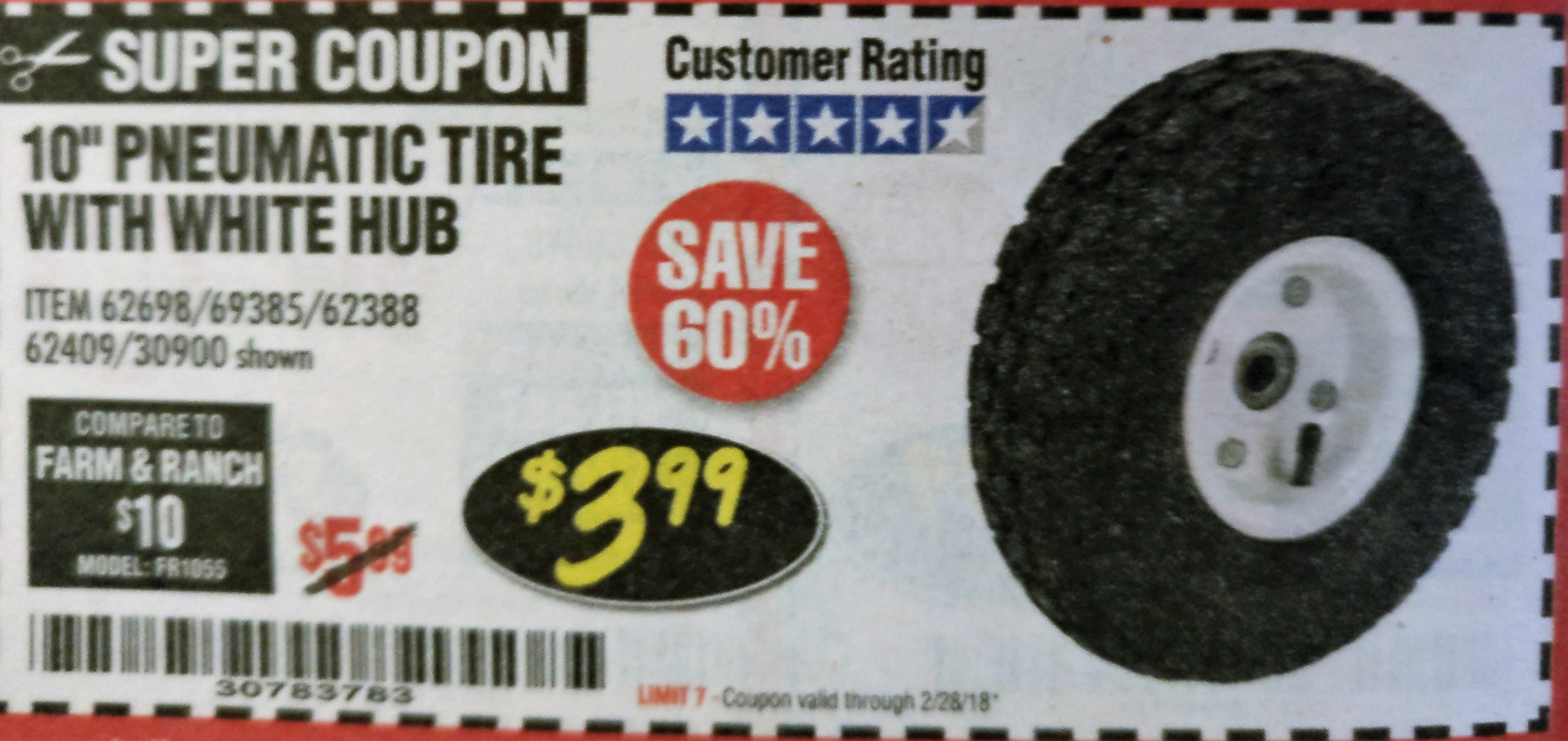 Harbor Freight 10' Heavy Duty Pneumatic Tire with White Hub coupon