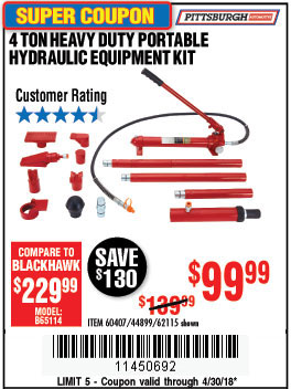 Harbor Freight 4 TON HEAVY DUTY PORTABLE HYDRAULIC EQUIPMENT KIT coupon