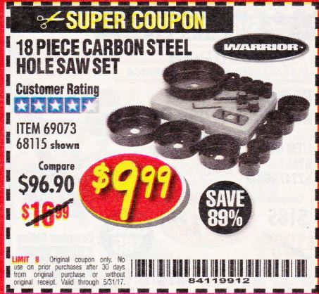 Harbor Freight 18 PIECE CARBON STEEL HOLE SAW SET coupon