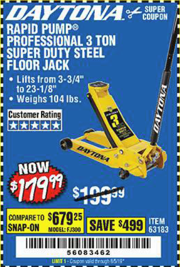 Harbor Freight 3 TON DAYTONA PROFESSIONAL STEEL FLOOR JACK - SUPER DUTY coupon
