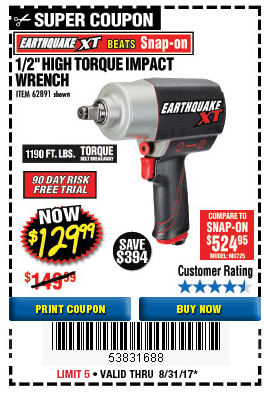 Harbor Freight EARTHQUAKE XT 1/2