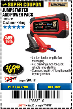 Harbor Freight LITHIUM ION JUMP STARTER AND POWER PACK coupon
