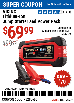 www.hfqpdb.com - LITHIUM ION JUMP STARTER AND POWER PACK Lot No. 62749/64412/56797/56798