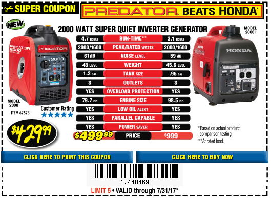 Harbor Freight Generators Portable : Harbor freight tools coupon database free coupons
