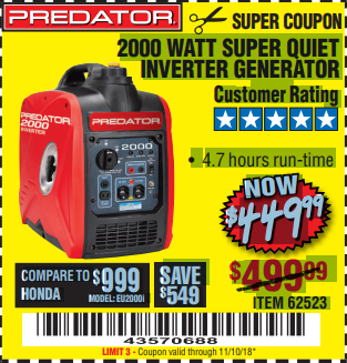 Harbor Freight 2000 PEAK / 1600 RUNNING WATTS 2.8 HP (79.7 CC) PORTABLE INVERTER GENERATOR coupon