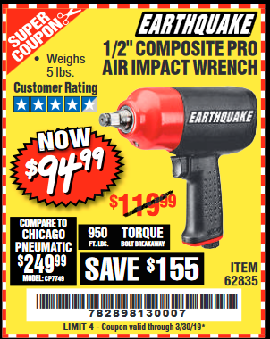 "www.hfqpdb.com - EARTHQUAKE 1/2"" COMPOSITE PRO IMPACT WRENCH Lot No. 62835"