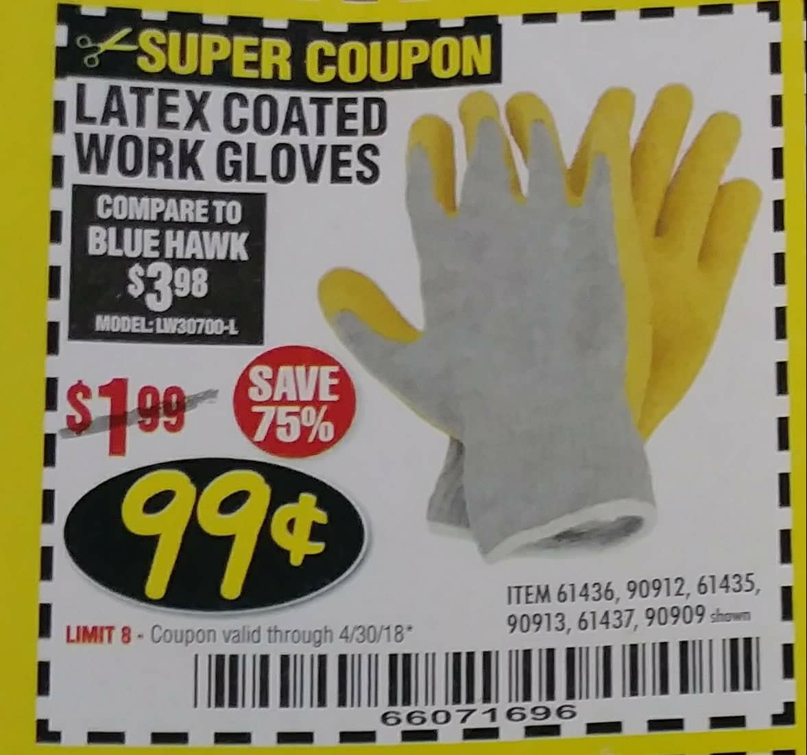 HARDY LATEX COATED WORK GLOVES Lot No. 90909/61436/90912/61435/90913/61437