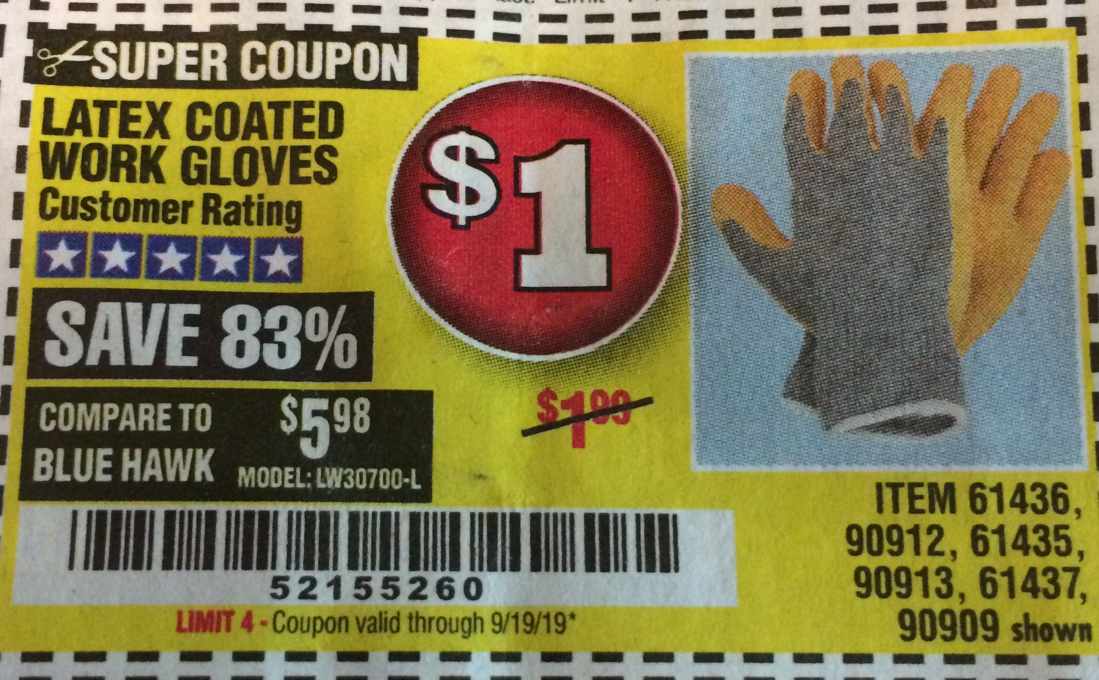 Harbor Freight HARDY LATEX COATED WORK GLOVES coupon