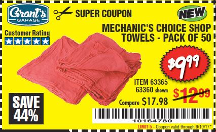 Harbor Freight MECHANICS CHOICE SHOP TOWELS PACK OF 50 coupon
