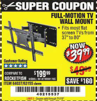 Harbor Freight FULL MOTION TV WALL MOUNT  coupon