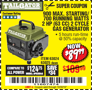 Anybody use the harbor freight tailgator generators - Is it bad to run a generator out of gas ...