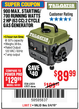 www.hfqpdb.com - 900 PEAK / 700 RUNNING WATTS, 2HP (63CC) 2 CYCLE GAS GENERATOR EPA/CARB Lot No. 63024/63025