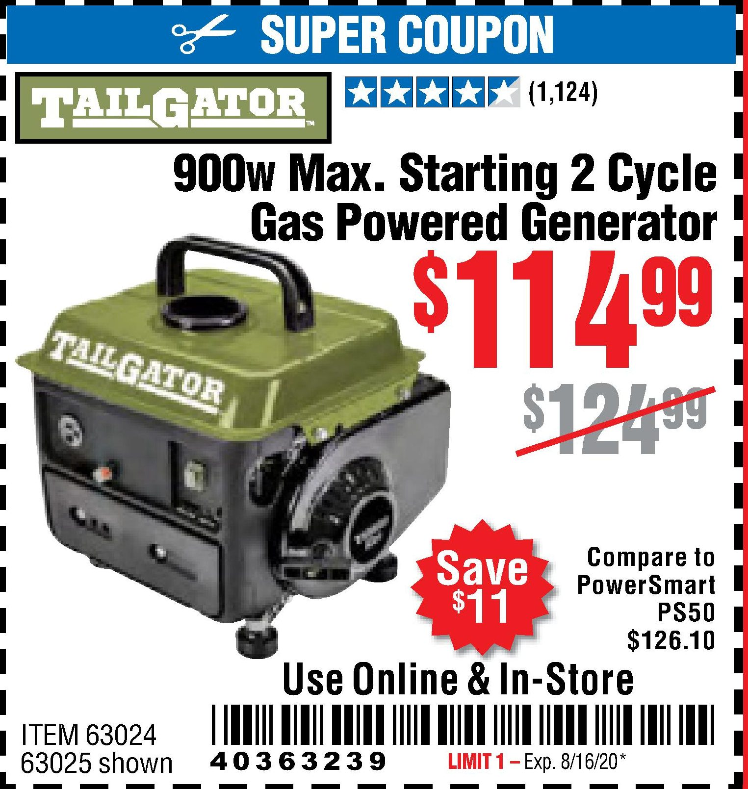 Harbor Freight TAILGATOR 900 PEAK / 700 RUNNING WATTS, 2HP (63CC) 2 CYCLE GAS GENERATOR EPA/CARB coupon