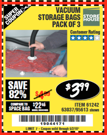 Harbor Freight Coupon VACUUM STORAGE BAGS PACK OF 3 Lot No. 61242/95613 Expired VACUUM STORAGE BAGS PACK OF 3 Lot No. 61242/95613 Expired 6/2/18 - $3.99 ...  sc 1 st  Harbor Freight Tools Coupon Database & Harbor Freight Tools Coupon Database - Free coupons 25 percent off ...
