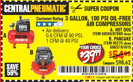 Harbor Freight 3 GALLON, 100 PSI OILLESS AIR COMPRESSORS coupon