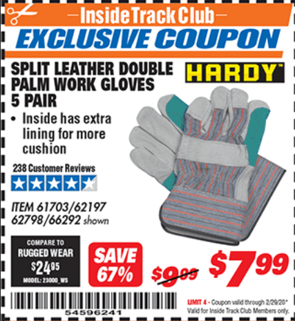 Harbor Freight SPLIT LEATHER DOUBLE PALM WORK GLOVES - 5 PAIR coupon