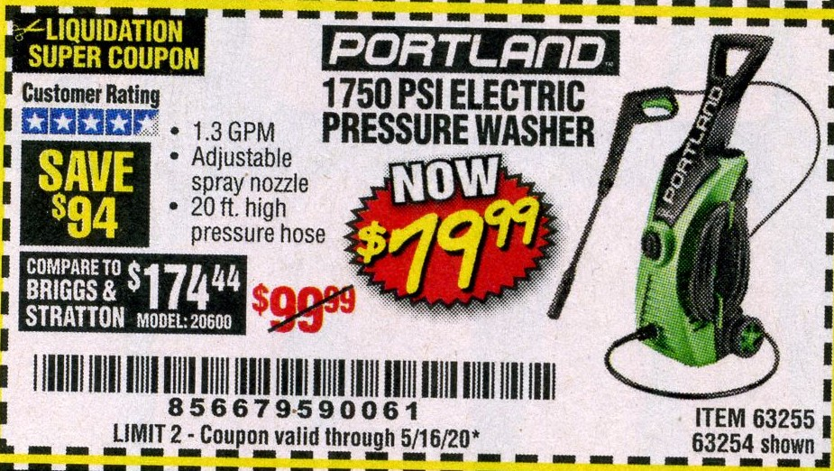 www.hfqpdb.com - 1750 PSI ELECTRIC PRESSURE WASHER Lot No. 63254/63255