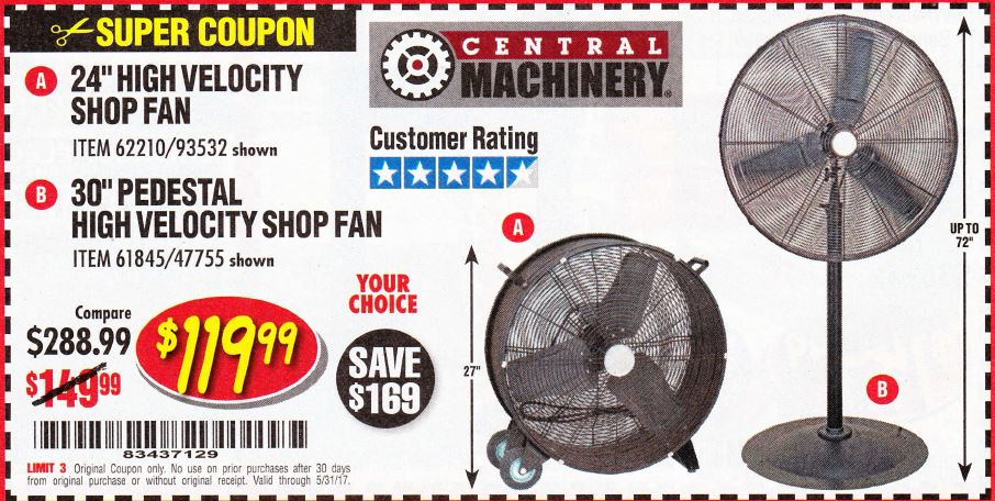 Shop fan harbor freight 28 images 3 speed portable for Harbor freight blower motor