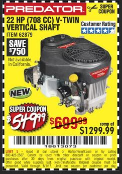 Harbor Freight 22 HP (708 CC) V-TWIN VERTICAL SHAFT coupon