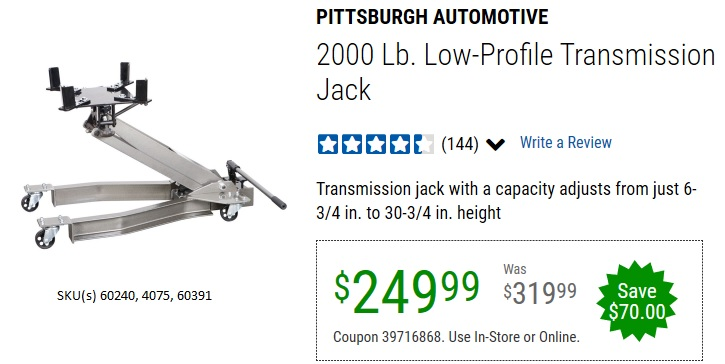 Harbor Freight 2000 LB. LOW-PROFILE TRANSMISSION JACK coupon