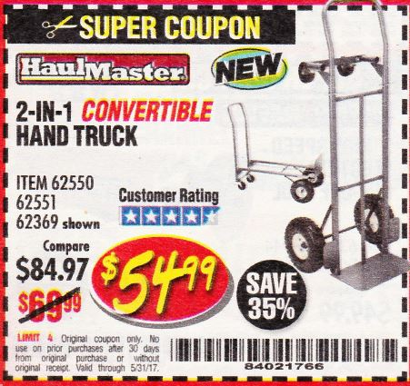 Harbor Freight 2-IN-1 CONVERTIBLE HAND TRUCK coupon
