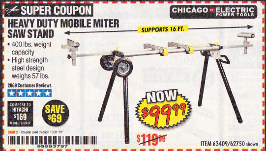 Harbor Freight HEAVY DUTY MOBILE MITER SAW STAND coupon