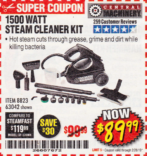 www.hfqpdb.com - 1500 WATT STEAM CLEANER KIT Lot No. 8823/63042