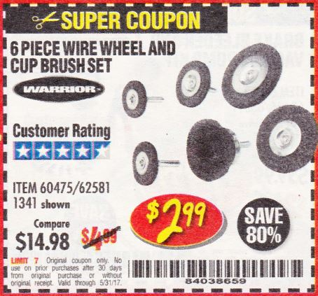 Harbor Freight 6 PIECE WIRE WHEEL AND CUP BRUSH SET coupon