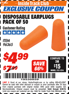 www.hfqpdb.com - DISPOSABLE EAR PLUGS PACK OF 50 Lot No. 96365