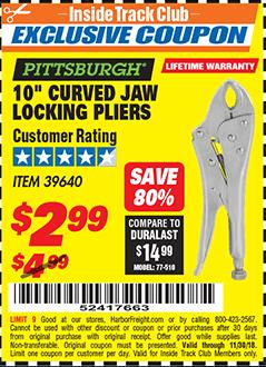 """www.hfqpdb.com - 10"""" CURVED JAW LOCKING PLIERS Lot No. 39640"""