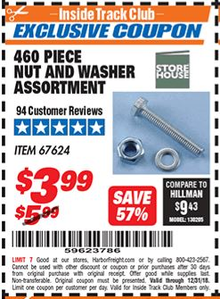 Harbor Freight 460 PIECE NUT AND WASHER ASSORTMENT coupon