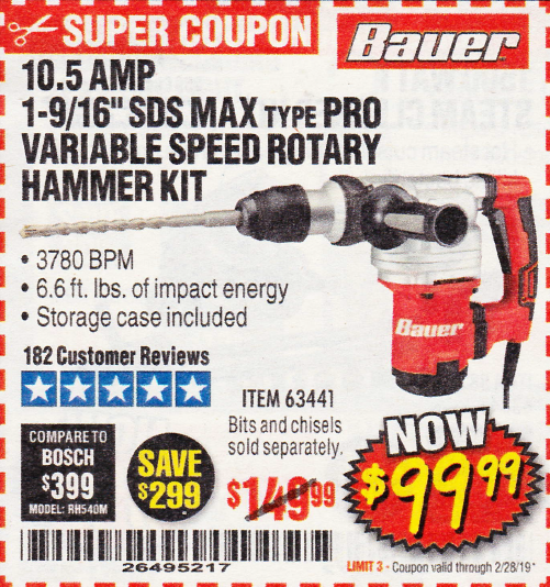 "www.hfqpdb.com - BAUER 10.5 AMP 1-9/16"" SDS MAX-TYPE PRO VARIABLE SPEED ROTARY HAMMER Lot No. 63441"