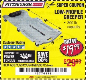 Harbor Freight LOW-PROFILE CREEPER coupon
