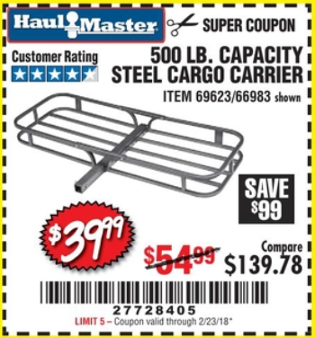 Harbor Freight STEEL CARGO CARRIER coupon