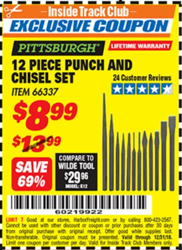 Harbor Freight 12 PIECE PUNCH AND CHISEL SET coupon