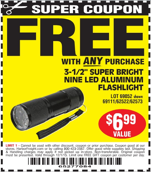 Harbor freight tools free flashlight coupon
