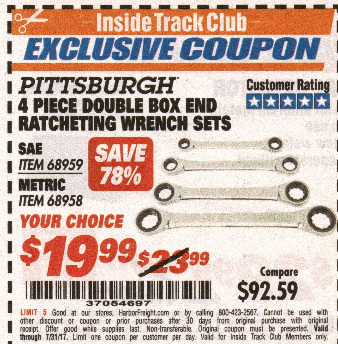 Harbor Freight 4 PIECE DOUBLE BOX END RATCHETING WRENCH SETS coupon