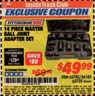 www.hfqpdb.com - 14 PIECE MASTER BALL JOINT ADAPTER SET Lot No. 62785/63725/60307