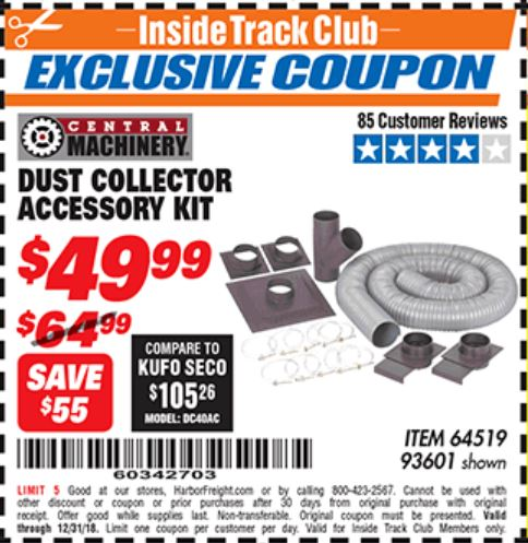 Harbor Freight DUST COLLECTOR ACCESSORY KIT coupon