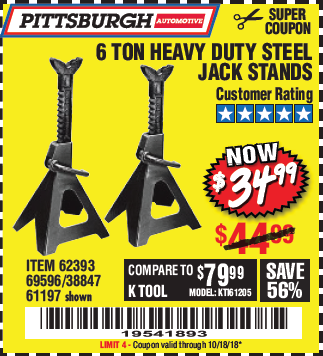Harbor Freight 6 TON HEAVY DUTY STEEL JACK STANDS coupon