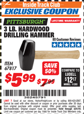Harbor Freight 3 LB. HARDWOOD DRILLING HAMMER coupon