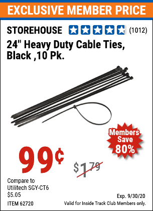 "www.hfqpdb.com - 24"" HEAVY DUTY CABLE TIES PACK OF 10 Lot No. 62717/62720"