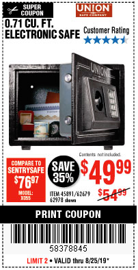 Harbor Freight 0.17 CUBIC FT. ELECTRONIC HANDGUN SAFE coupon