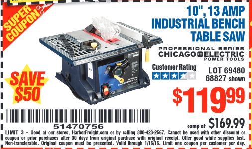 Harbor freight coupon 10 13 amp industrial bench table for 10 13 amp industrial bench table saw