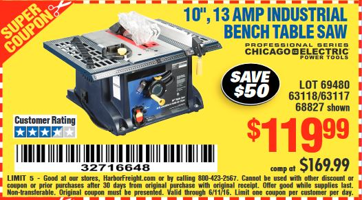 Harbor freight tools coupon database free coupons 25 for 10 13 amp industrial bench table saw