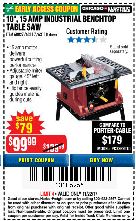 Harbor freight tools coupon database free coupons 25 percent 10 13 amp industrial bench table saw lot no 631176311868827 expired 112217 9999 keyboard keysfo Image collections