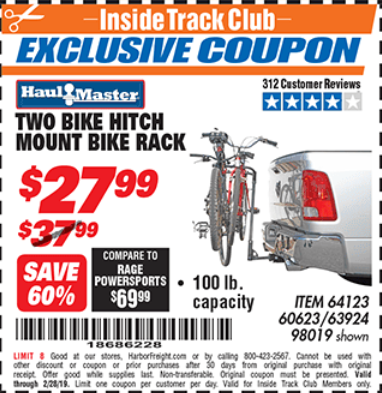 Harbor Freight TWO BIKE HITCH MOUNT BIKE RACK coupon