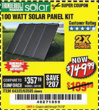 Harbor Freight 100 WATT SOLAR PANEL KIT coupon