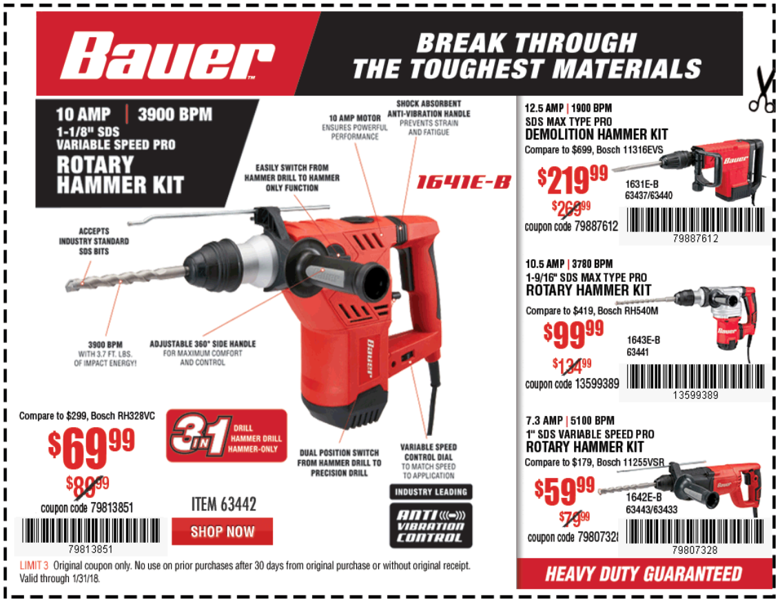 Harbor Freight 12.5 AMP SDS MAX TYPE PRO HAMMER KIT coupon